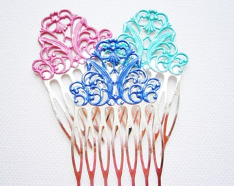 One Small Patina Silver Plated Filigree Hair Comb - Vintage Inspired/Shabby Chic/Bohemian/Hair Accessory
