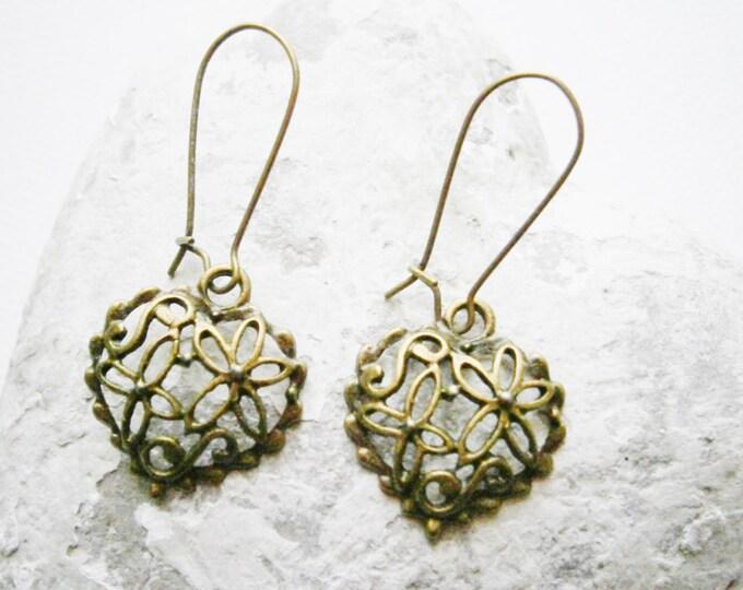 Filigree Heart Antique Bronze Charm On Antique Bronze Kidney Wire Earring Hooks/Dangle Earrings.