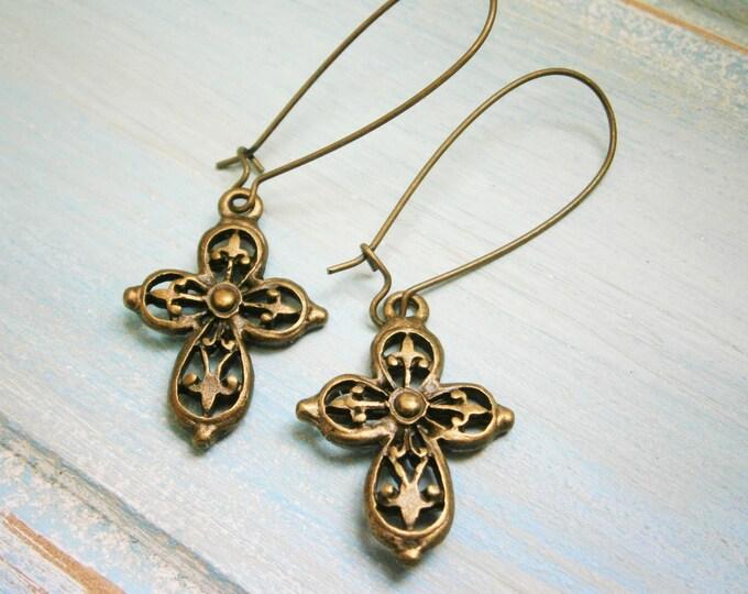 Filigree Cross Dangle Earrings/33mm Antique Bronze Kidney Wire Earring Hooks with Antique Bronze Filigree Cross/Dangle Earring/Boho Earrings