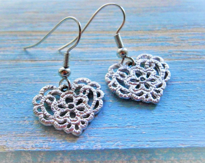Rhodium Plated Filigree Floral Lace Heart Pendant on Rhodium Plated Spring Ball French Earring Hooks/Dangle Earrings/Heart Earrings