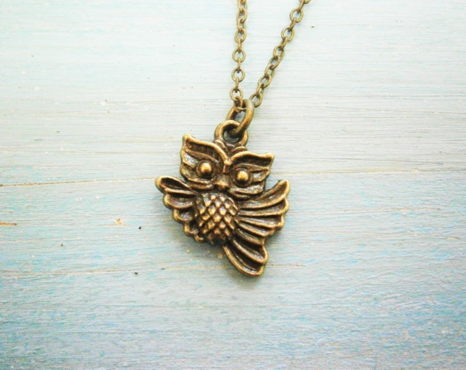 Antique Bronze Owl Charm Necklace/Boho Necklace/Nature Necklace/Woodland Jewellery/Owl Jewelry/Nature Jewelry/Boho Jewelry/Bridesmaid Gift.