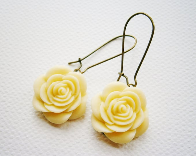 Cream Resin 19mm Rose on 24mm Antique Bronze Kidney Wire Earring Hook/Dangle Earrings