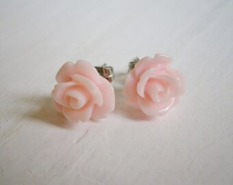 Pale Pink 10mm Resin Rose set on Stainless Steel Earring Posts/Stud Earrings/Pink Rose Earrings/Flower Earrings/Floral Jewelry/Boho Earrings