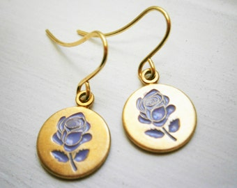 Purple Rose Vintage Style Brass Disc Charm Pendant On Gilt Plated French Earring Hooks/Dangle Earrings/Rose Earrings/Bridal Jewelry