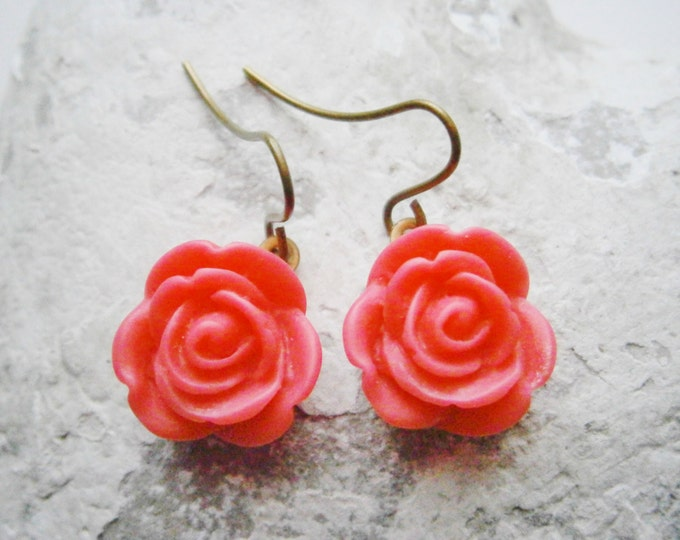 Dark Pink Rose Earrings/Dark Pink 13mm Resin Rose's set on Antique Brass Base & Earring Hook's/Dangle Earrings