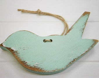 Mint Painted Distressed Wood Hanging Bird/Bluebird/Shabby Chic Decor/Rustic Home Decor