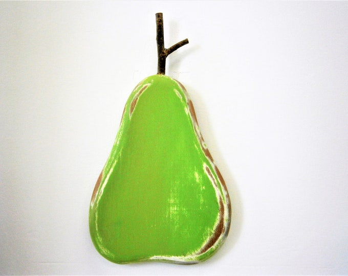 Lime Painted Wood Pear - Wall Art/Reclaimed Pear with a Shabby Chic/Rustic distressed finish/Home Decor/Rustic Decor/Shabby Chic.