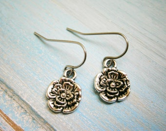 Antique Silver Plated Small Pansy Flower Pendant On Stainless Steel French Earring Hooks/Flower Earrings/Boho Style/Wedding Jewelry