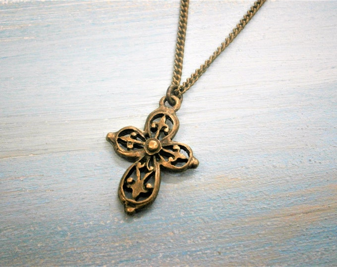 Filigree Cross Necklace/Antique Bronze Cross Filigree Necklace/Layering Necklace/Boho Necklace/Vintage Inspired Jewelry/Steampunk Jewelry
