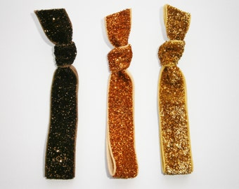 Set of 3 Glitter Hair Tie Package by Crimson Rose Cottage - Brown, Orange and Gold Glitter Hair Ties that Double as Bracelets