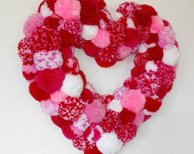 Large Heart Multi Coloured Yarn Pom Pom Wreath/Party Decor/Valentines Wreath/Christmas Wreath/Home Decor/Modern Wreath/Bohemian Home Decor