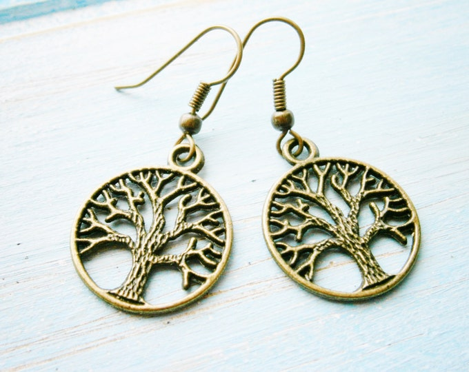195a6a15f Antique Bronze Tree of Life Charm Dangle Earrings/Boho Earrings/Nature  Earrings/Tree