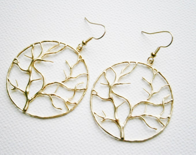 Matt Gold Plated Round Tree Of Life Pendant on 14K Gold Plated Spring Ball French Earring Hooks/Dangle Earrings/Tree Earrings/Nature Jewelry