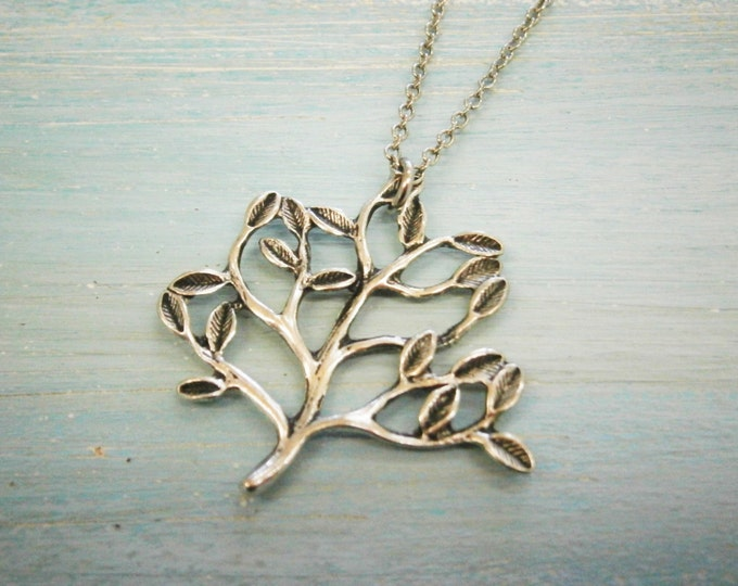 Antique Silver Tree Necklace/Boho Necklace/Nature Necklace/Woodland Necklace