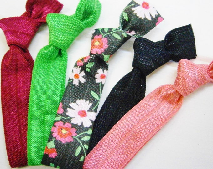 Midnight Floral - Set of 5 Solid Color and Patterned Hair Ties by Crimson Rose Cottage/Boho Elastic Hair Tie/Boho Soft Bracelet/Hair Tie