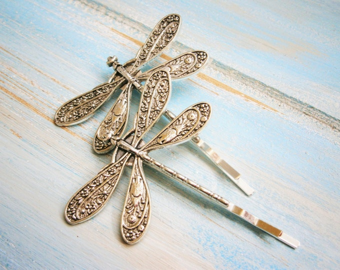 Antique Silver Plated Set of 2 Dragonfly Bobby Pins, Dragonfly Hair Clips, Boho Hair Clips, Boho Hair Accessories, Wedding Hair Accessories