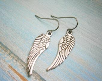 Angel Wing Antique Silver Charm On Stainless Steel French Earring Hooks/Dangle Earrings.
