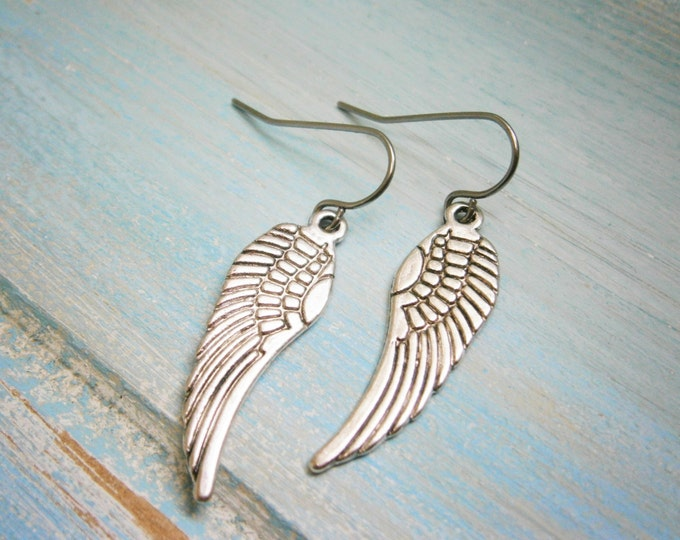 Angel Wing Antique Silver Charm On Stainless Steel French Earring Hooks/Dangle Earrings.