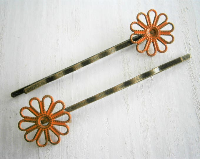 Orange Daisy Filigree Patina Antique Bronze Bobby Pins Set of Two/Hair Clips/Bohemian Hair Clips/Shabby Chic Hair Clips/Bobby Pins