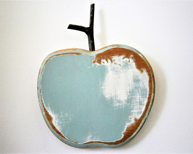 Duck Egg Blue Painted Wood Apple -Wall Art/Reclaimed Apple with a Shabby Chic/Rustic distressed finish/Home Decor/Rustic Decor/Shabby Chic.