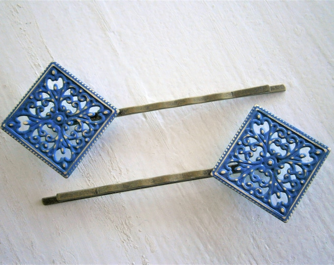 Cobalt Blue Patina Filigree Antique Bronze Bobby Pins Set of 2/Hair Clips/Bohemian Hair Clip/Shabby Chic Hair Clips/Bobby Pins/Vintage Style