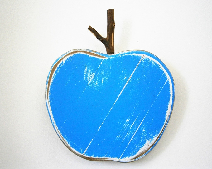 Blue Painted Wood Apple -Wall Art/Reclaimed Apple with a Shabby Chic/Rustic distressed finish/Home Decor/Rustic Decor/Shabby Chic.