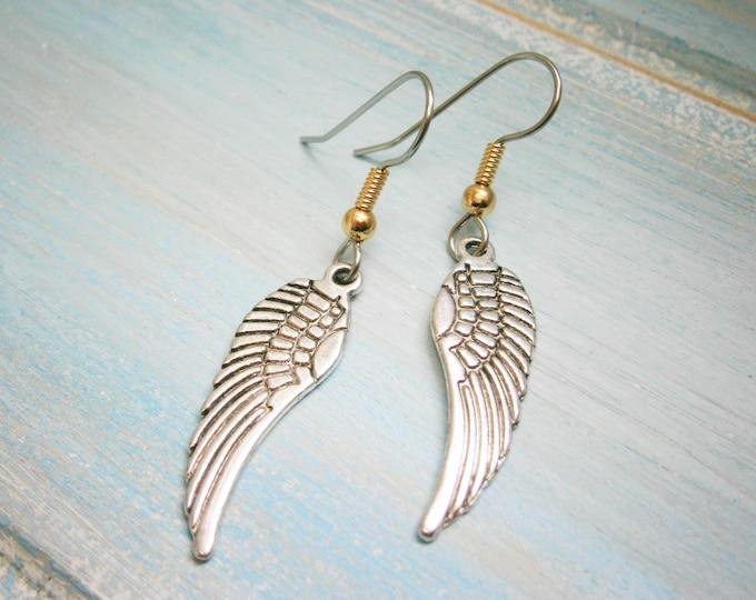Angel Wing Antique Silver Charm On Stainless Steel French Earring Hooks/Dangle Earrings/Wing Earrings/Bohemian Jewellery/Boho Earrings