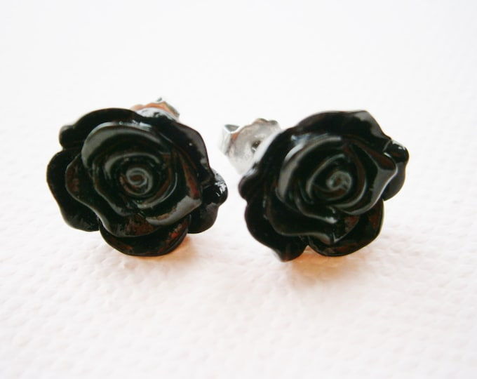 Black 13mm Resin Frilly Rose Flowers set on Stainless Steel Hypo Allergenic Earring Posts/Stud Earrings.
