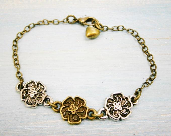 Antique Bronze & Silver Plated Three Flower Charm Bracelet/Boho Bracelet/Nature Inspired Bracelet/Woodland Jewelry/Wedding Jewelry