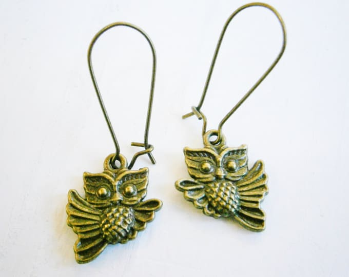 Antique Bronze Owl On Antique Bronze Kidney Wire Earring Hooks/Dangle Earrings/Boho Jewelry/Woodland Jewelry/Nature Inspired