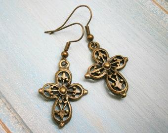Antique Bronze Filigree Cross Charm Dangle Earrings/Boho Earrings/Cross Earrings/Dangle Earrings/Religious Earrings/Steampunk Jewelry
