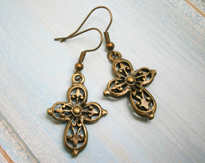 Antique Bronze Filigree Cross Charm Dangle Earrings/Boho Earrings/Cross Earrings/Dangle Earrings/Religious Earrings/Steampunk Jewelry