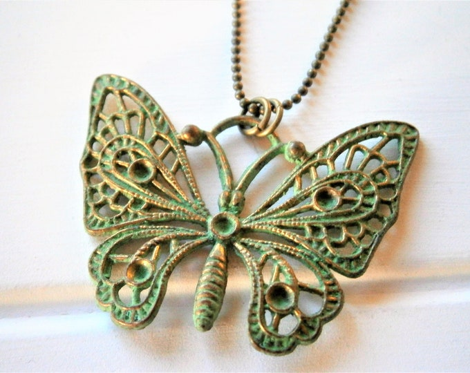 Moss Green Patina Filigree Butterfly on Antique Bronze Ball Chain/Boho Necklace/Long Necklace/Layering Necklace/Patina Necklace.