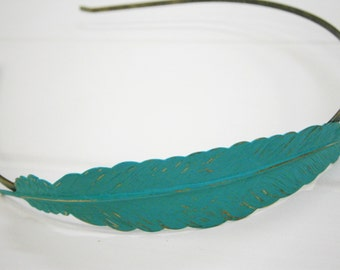 Verdigris/Aqua Feather Patina Filigree Headband - Hair Accessory, Bridesmaid Gift, Family Pictures, Rustic Wedding Accessory, Gift