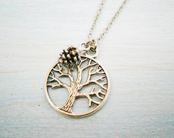 Antique Silver Filigree Small Round Tree of Life Necklace Charm with Pincone Charm/Boho Necklace/Nature Necklace/Nature Inspired Jewellery
