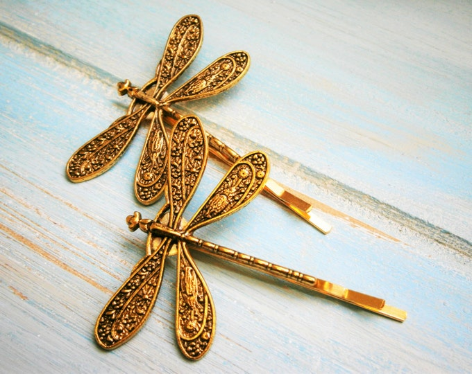 Antique Gold Plated Set of Two Dragonfly Bobby Pins, Dragonfly Hair Clips, Boho Hair Clips, Boho Hair Accessories, Wedding Hair Accessories