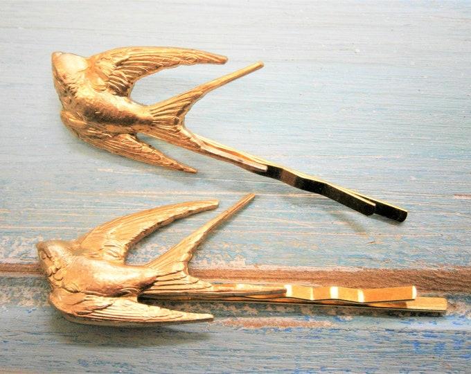 Golden Brass Set of 2 Sparrow Bobby Pins/Sparrow Hair Clips/Boho Hair Clips/Boho Hair Accessories/Wedding Hair Accessories/Rustic Wedding