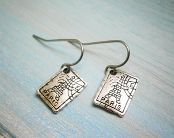 Antique Silver Plated Small Paris Stamp Charm Pendant On Stainless Steel French Earring Hooks/Paris Earrings/Boho Style/Travel Jewelry