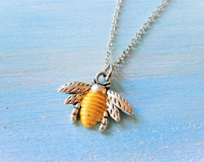 Antique Silver Bumble Bee Charm with Yellow Patina Detailing Necklace/Nature Necklace/Woodland Jewellery/Bee Necklace/Boho Jewelry
