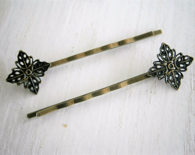 Black Filigree Patina Antique Bronze Bobby Pins Set of Two/Hair Clips/Bohemian Hair Clips/Shabby Chic Hair Clips/Bobby Pins/Vintage Style