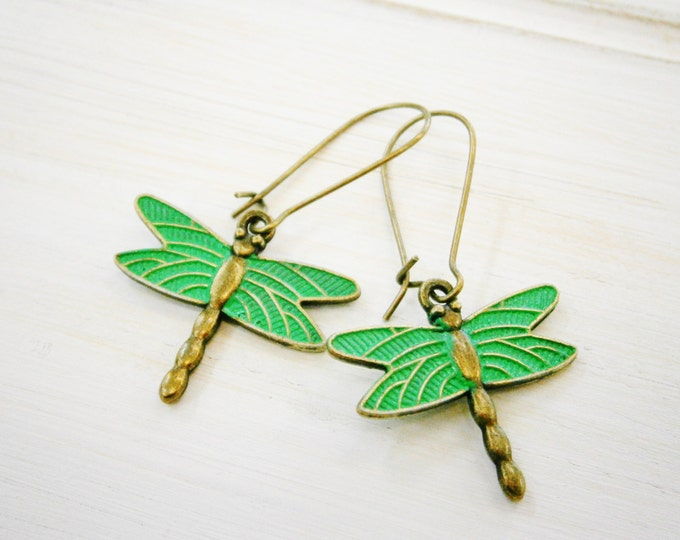 Antique Bronze Dragonfly with Emerald Patina Wings On Antique Bronze Kidney Wire Hooks/Dangle Earrings/Boho Jewelry/Woodland Jewelry