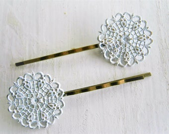 White Filigree Patina Antique Bronze Bobby Pins Set of Two/Hair Clips/Bohemian Hair Clips/Shabby Chic Hair Clips/Bobby Pins/Rustic Wedding