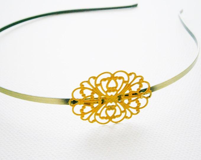 Ochre/Yellow Patina Filigree Headband/Hair Accessory/Bridesmaid Gift/Bridal Accessory/Rustic Wedding/Boho Hair Accessory/Headband