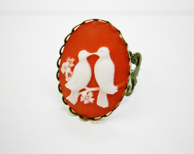 Cameo Ring, Vintage Style Filigree Adjustable Ring, Red & White Love Bird Cameo, Large Cocktail Ring, Resin Jewelry, Shabby Chic Jewelry.