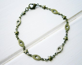 Antique Bronze Star Chain Bracelet/Boho Bracelet/Starry Night Inspired Bracelet/Star Jewelry/Flower Girl Bracelet/Boho Jewelry