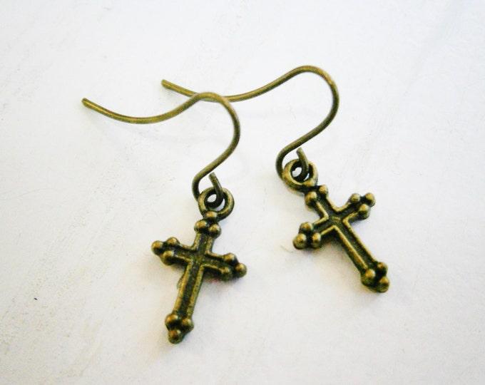 Antique Bronze Mini Cross Charm Dangle Earrings/Boho Earrings/Cross Earrings/Religious Earrings/Faith Earrings/Dainty Earrings