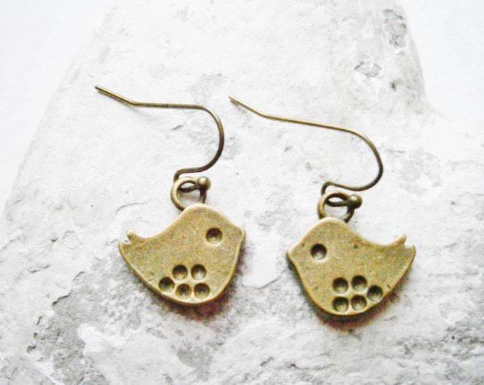 Small Antique Bronze Bird Charm On Antique Bronze French Earring Hooks/Dangle Earrings/Boho Earrings.