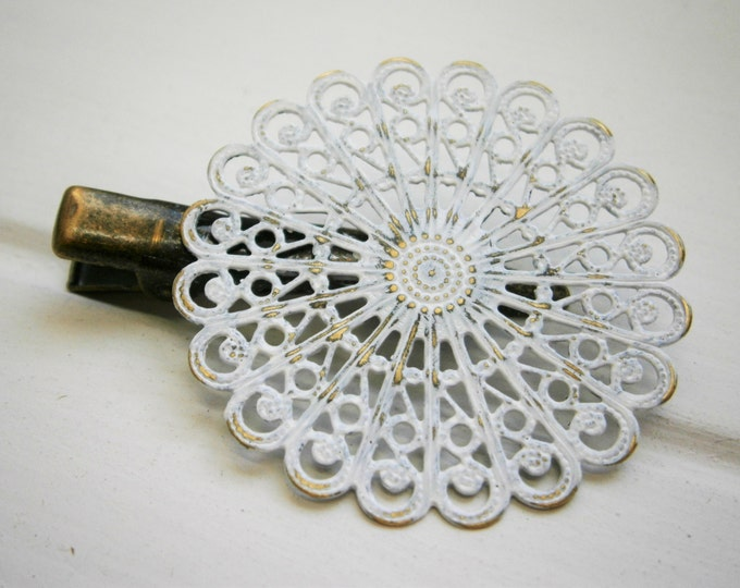 Vintage White Hand Painted Patina Antique Bronze Round Filigree Shabby Chic Alligator Hair Clip/Boho Hair Clip/Rustic Hair Clip.
