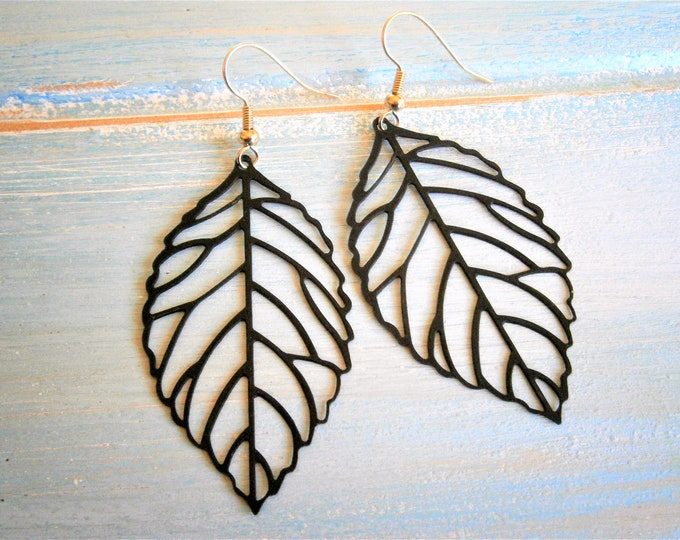 Matt Black Plated Filigree Leaf Pendants on 14K Gold Plated Spring Ball French Earwires/ Dangle Earrings/Filigree Earrings/Nature Earrings