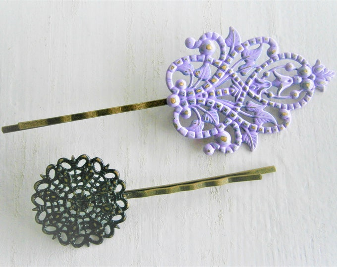 Filigree Mix Patina Antique Bronze Bobby Pins Set of Two/Hair Clips/Bohemian Hair Clips/Shabby Chic Hair Clips/Bobby Pins/Rustic Wedding